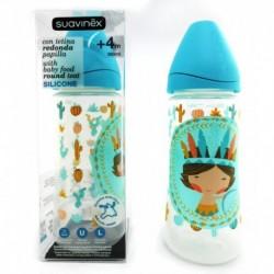 Botol Susu Suavinex - 360ml - Leher Botol Lebar - Tema Anak Indian Biru