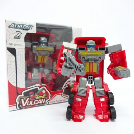 Atlon 2 Mini Vulcan - Red Fire Truck - Mainan robot