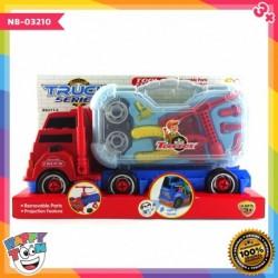 Mainan mobil truk kontainer dengan koper peralatan
