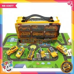 6 pcs contruction truck Vehicle Speed Mainan truk alat dengan kotak penyimpanan NB-03677